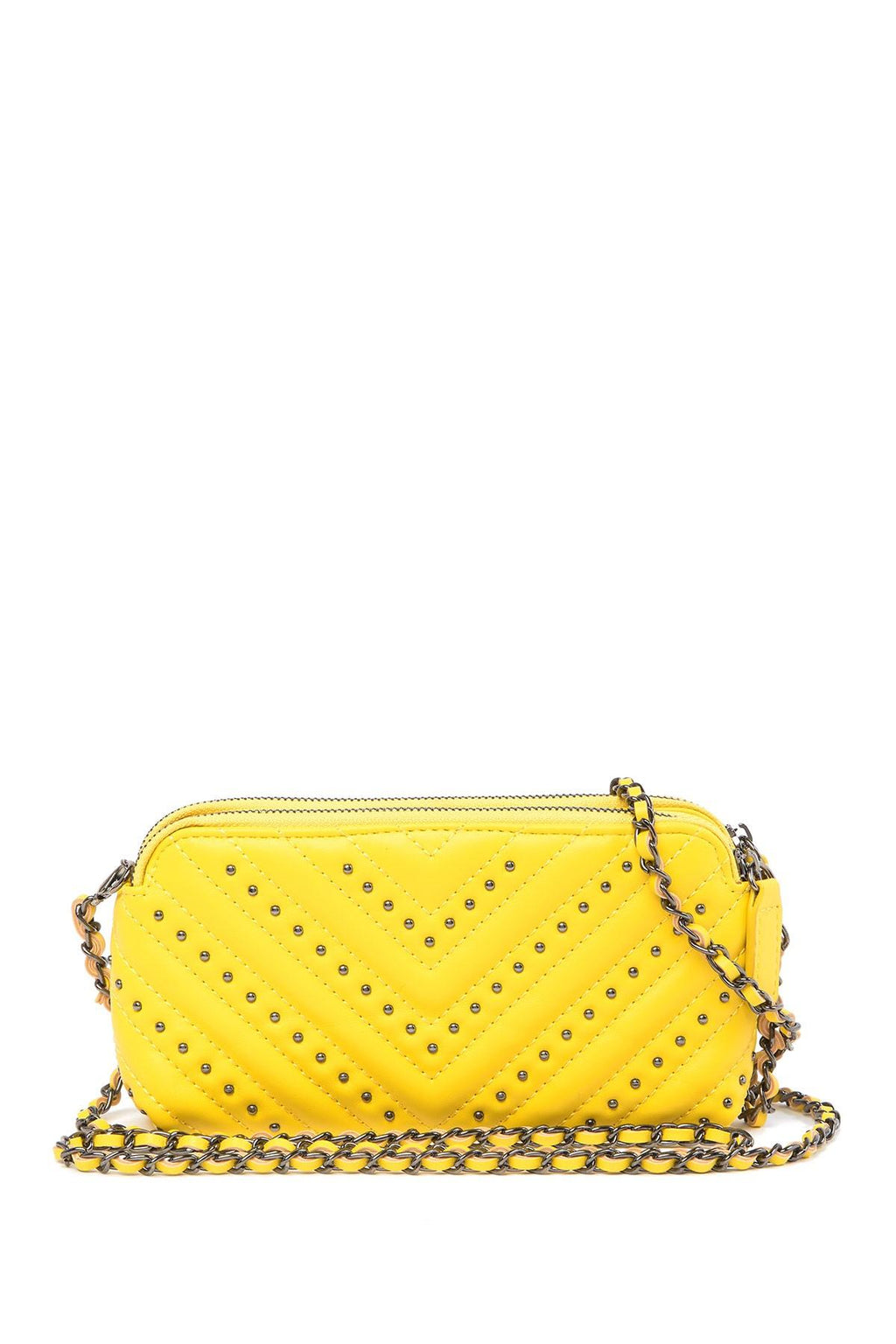 Women's Yellow Kendra Quilted Stud Crossbody