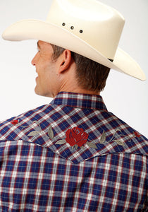 MENS NAVY RED AND TAN PLAID LONG SLEEVE SNAP WESTERN SHIRT