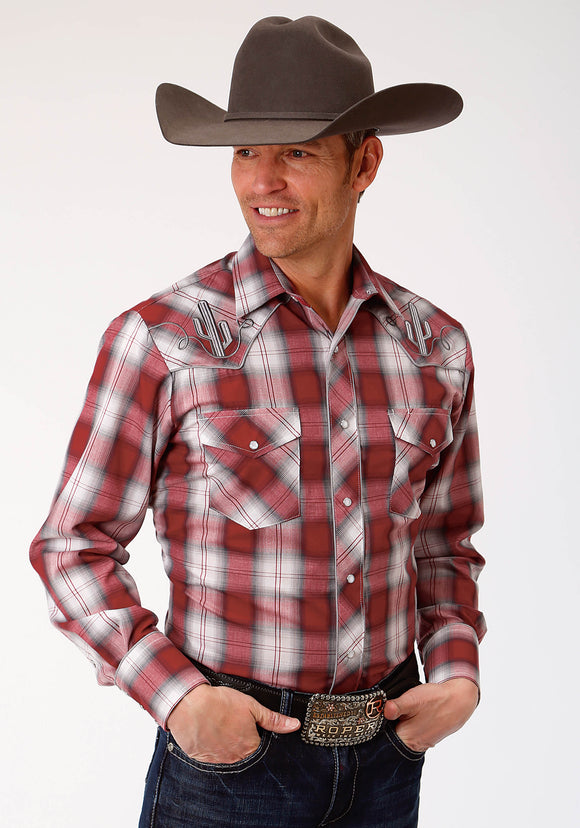 MENS RED BLACK AND GREY PLAID LONG SLEEVE SNAP WESTERN SHIRT