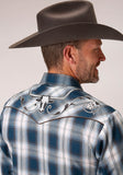 MENS BLUE GREY AND WHITE PLAID LONG SLEEVE SNAP WESTERN SHIRT