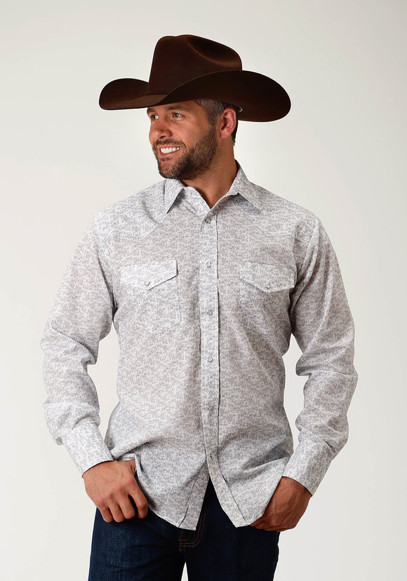 MENS BLUE FLORAL PRINT LONG SLEEVE SNAP WESTERN SHIRT
