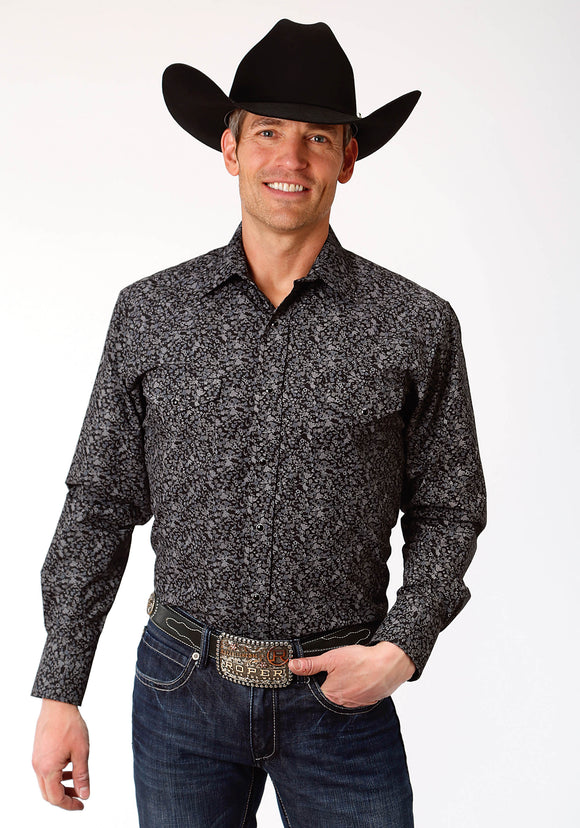 MENS BLACK AND GREY FLORAL PRINT LONG SLEEVE SNAP WESTERN SHIRT