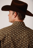 MENS BROWN AND CREAM LEAF PRINT LONG SLEEVE SNAP WESTERN SHIRT