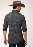 MENS BLACK AND WHITE DOTTED PRIN LONG SLEEVE SNAP WESTERN SHIRT
