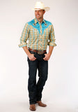 MENS CELERY AND TURQUOISE PLAID LONG SLEEVE SNAP WESTERN SHIRT