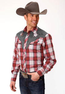 MENS RED WHITE AND GREY PLAID LONG SLEEVE SNAP WESTERN SHIRT