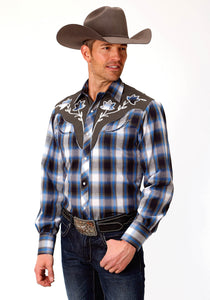 MENS SKY BLUE AND OLIVE GREEN PLAID LONG SLEEVE SNAP WESTERN SHIRT