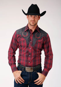 MENS RED AND NAVY PLAID LONG SLEEVE SNAP WESTERN SHIRT