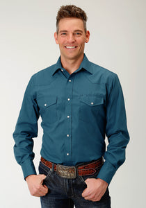 MENS TEAL SOLID BROADCLOTH LONG SLEEVE SNAP WESTERN SHIRT