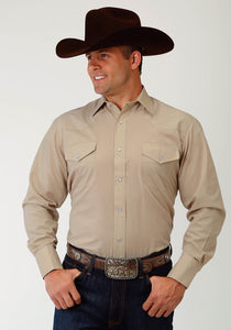 MENS STONE SOLID BROADCLOTH LONG SLEEVE SNAP WESTERN SHIRT