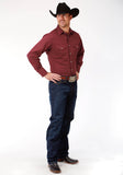 MENS WINE SOLID BROADCLOTH LONG SLEEVE SNAP WESTERN SHIRT