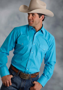 MENS TURQUOISE SOLID BROADCLOTH LONG SLEEVE SNAP WESTERN SHIRT