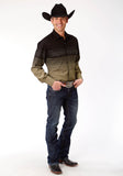 MENS LONG SLEEVE SNAP WESTERN SHIRT BLACK AND KHAKI BORDER STRIPE