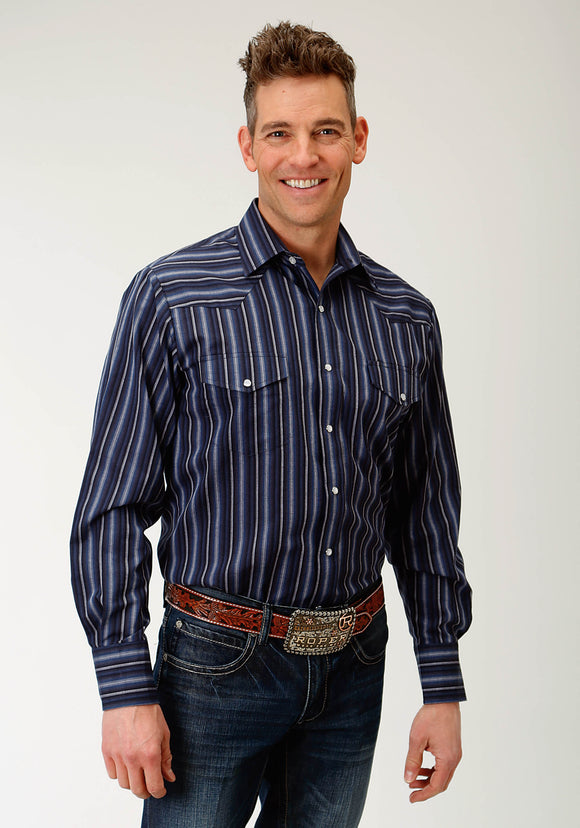 MENS BLUE  MULITCOLORED STRIPE LONG SLEEVE SNAP WESTERN SHIRT
