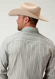 MENS SLATE BLUE AND YELLOW STRIPE LONG SLEEVE SNAP WESTERN SHIRT