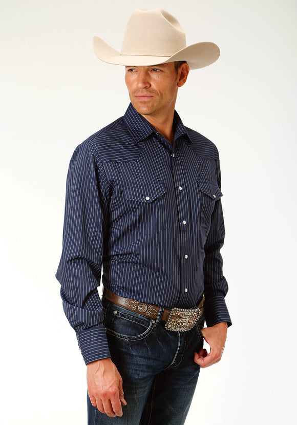 MENS NAVY BLUE AND WHITE PINSTRIPE LONG SLEEVE SNAP WESTERN SHIRT
