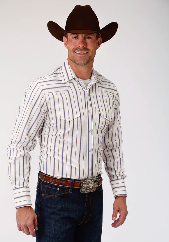MENS BLUE AND STONE STRIPE LONG SLEEVE SNAP WESTERN SHIRT