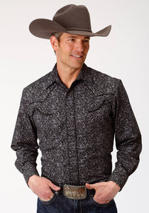 MENS BLACK AND GREY FLORAL LONG SLEEVE SNAP WESTERN SHIRT