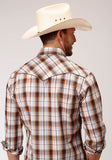 MENS WHITE BROWN BLACK AND ORANGE PLAID LONG SLEEVE SNAP WESTERN SHIRT