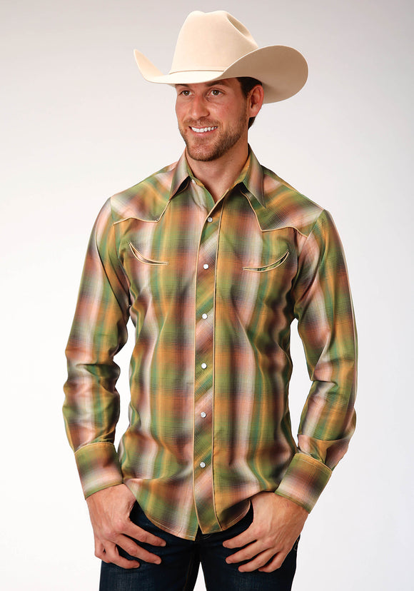 MENS GREEN OMBRE PLAID LONG SLEEVE SNAP WESTERN SHIRT