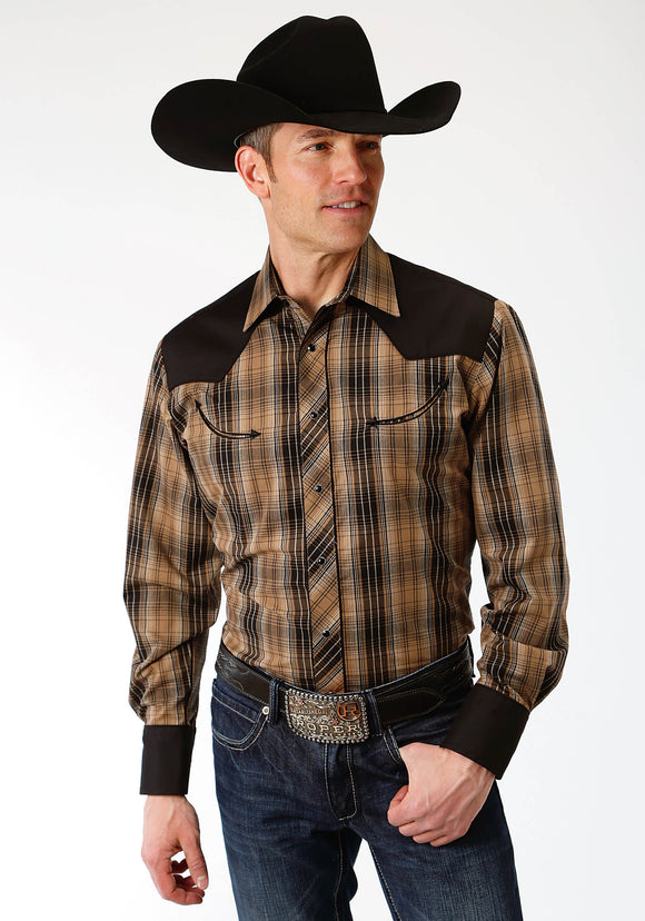 MENS BROWN AND BLACK PLAID LONG SLEEVE SNAP WESTERN SHIRT