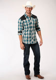 MENS TEAL TAN,CREAM AND BLACK  LONG SLEEVE SNAP WESTERN SHIRT