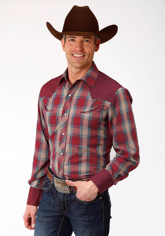 MENS RED BLUE AND TAN PLAID LONG SLEEVE SNAP WESTERN SHIRT