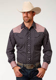 MENS NAVY BLUE AND RED PLAID LONG SLEEVE SNAP WESTERN SHIRT