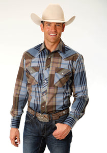 MENS BLUE AND BROWN PLAID LONG SLEEVE SNAP WESTERN SHIRT