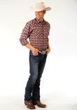 MENS RUST AND NAVY BLUE PLAID LONG SLEEVE SNAP WESTERN SHIRT