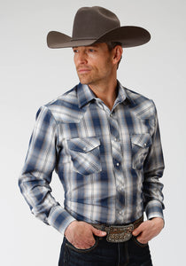 MENS BLUE AND GREY PLAID LONG SLEEVE SNAP WESTERN SHIRT
