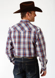 MENS ROYAL AND RUST PLAID LONG SLEEVE SNAP WESTERN SHIRT
