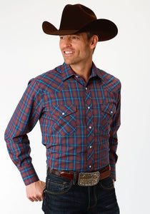 MENS ROYAL BLUE AND RED PLAID LONG SLEEVE SNAP WESTERN SHIRT