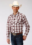 MENS BERRY BLACK AND TAN PLAID LONG SLEEVE SNAP WESTERN SHIRT