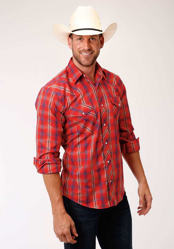 MENS RED BLUE TAN AND WHITE PLAID LONG SLEEVE SNAP WESTERN SHIRT