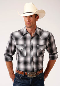MENS BLACK GREY AND WHITE PLAID LONG SLEEVE SNAP WESTERN SHIRT