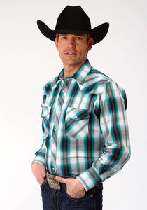 MENS TURQUOISE NAVY AND WHITE PLAID LONG SLEEVE SNAP WESTERN SHIRT