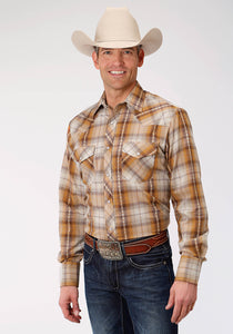 MENS RUST AND CREAM PLAID LONG SLEEVE SNAP WESTERN SHIRT
