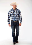 MENS BLUE NAVY AND OLIVE PLAID LONG SLEEVE SNAP WESTERN SHIRT