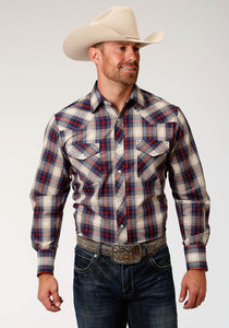 MENS NAVY CREAM AND RED PLAID LONG SLEEVE SNAP WESTERN SHIRT