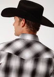 MENS BLACK BLACK GREY AND WHITE PLAID LONG SLEEVE SNAP WESTERN SHIRT