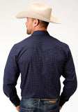 MENS MULTI BLUE PLAID LONG SLEEVE SNAP WESTERN SHIRT