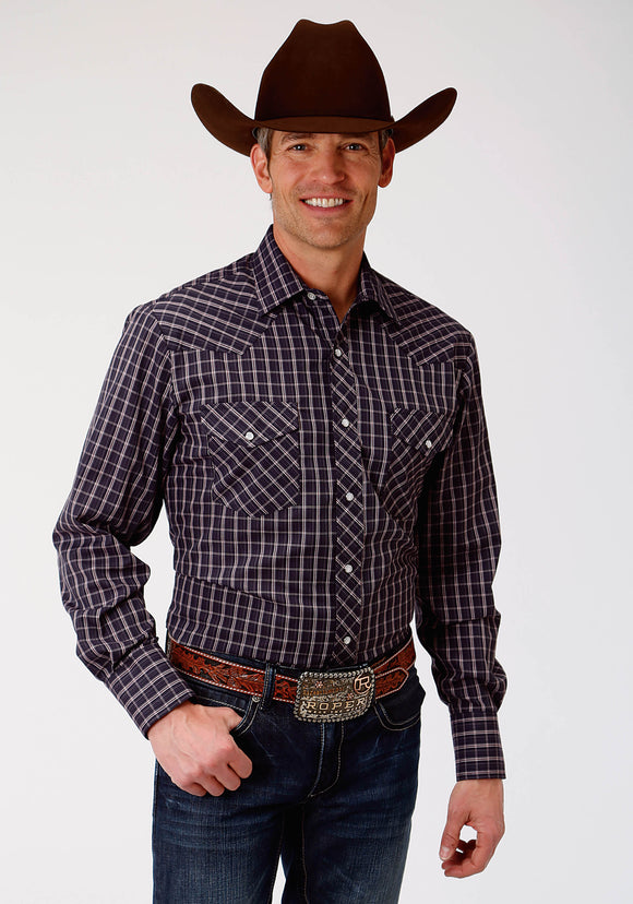 NAVY AND RED PLAID MENS LONG SLEEVE SNAP WESTERN SHIRT
