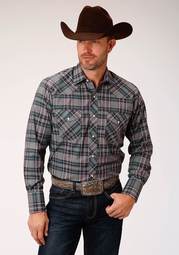 MENS GREY NAVY AND WHITE PLAID LONG SLEEVE SNAP WESTERN SHIRT