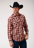 MENS BLACK RED CREAM AND TAN PLAID LONG SLEEVE SNAP WESTERN SHIRT