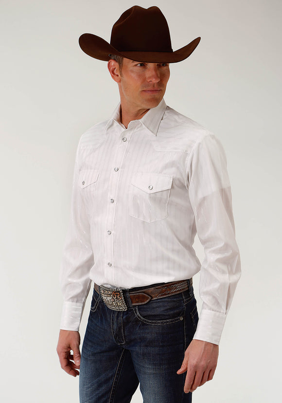 MENS WHITE DOBBY STRIPE WITH SILVER LUREX MENS LONG SLEEVE SNAP WESTERN SHIRT