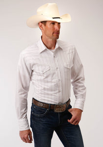 MENS WHITE WITH RED STRIPE LONG SLEEVE SNAP WESTERN SHIRT