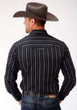 MENS BLACK AND GREY STRIPE LONG SLEEVE SNAP WESTERN SHIRT