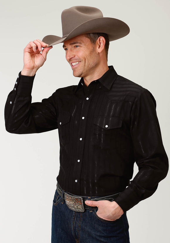 MENS BLACK STRIPE TONE ON TONE WITH SILVER LUREX LONG SLEEVE SNAP WESTERN SHIRT