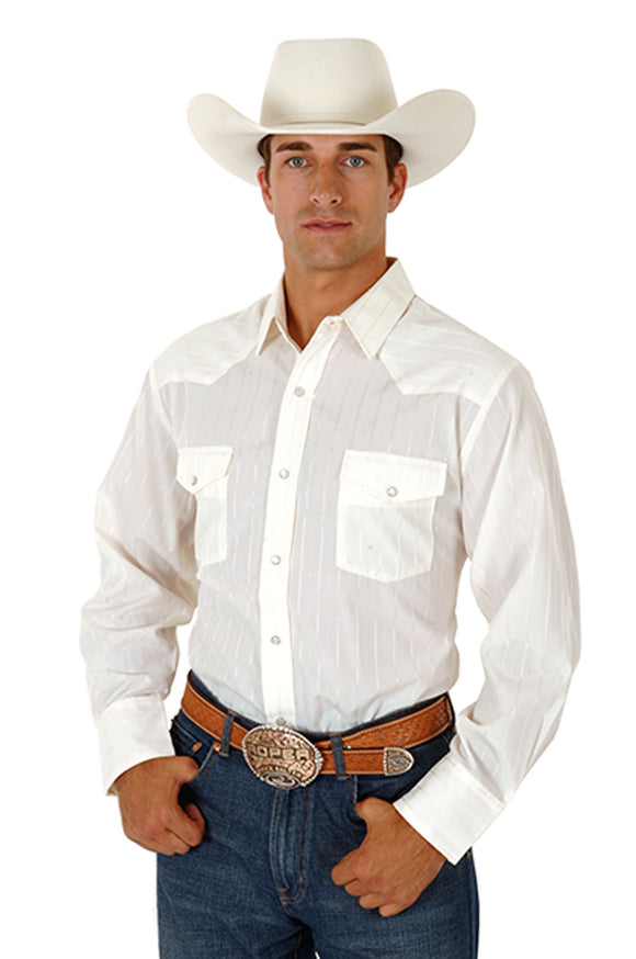 MENS ECRU TONE ON TONE LONG SLEEVE SNAP WESTERN SHIRT